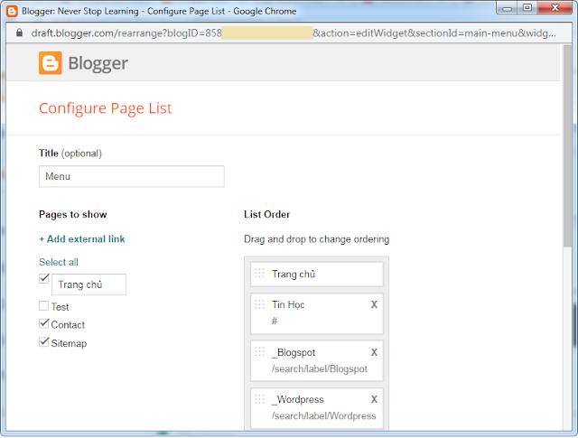 Tạo menu cho blogspot bằng widget pagelist