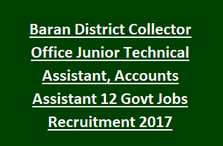 Baran District Collector Office Junior Technical Assistant, Accounts Assistant 12 Govt Jobs Recruitment 2017
