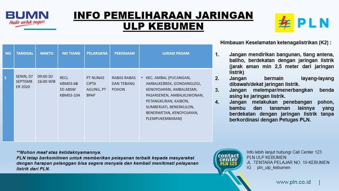 Ini Jadwal Pemadaman Listrik di Kebumen Senin 7 September 2020