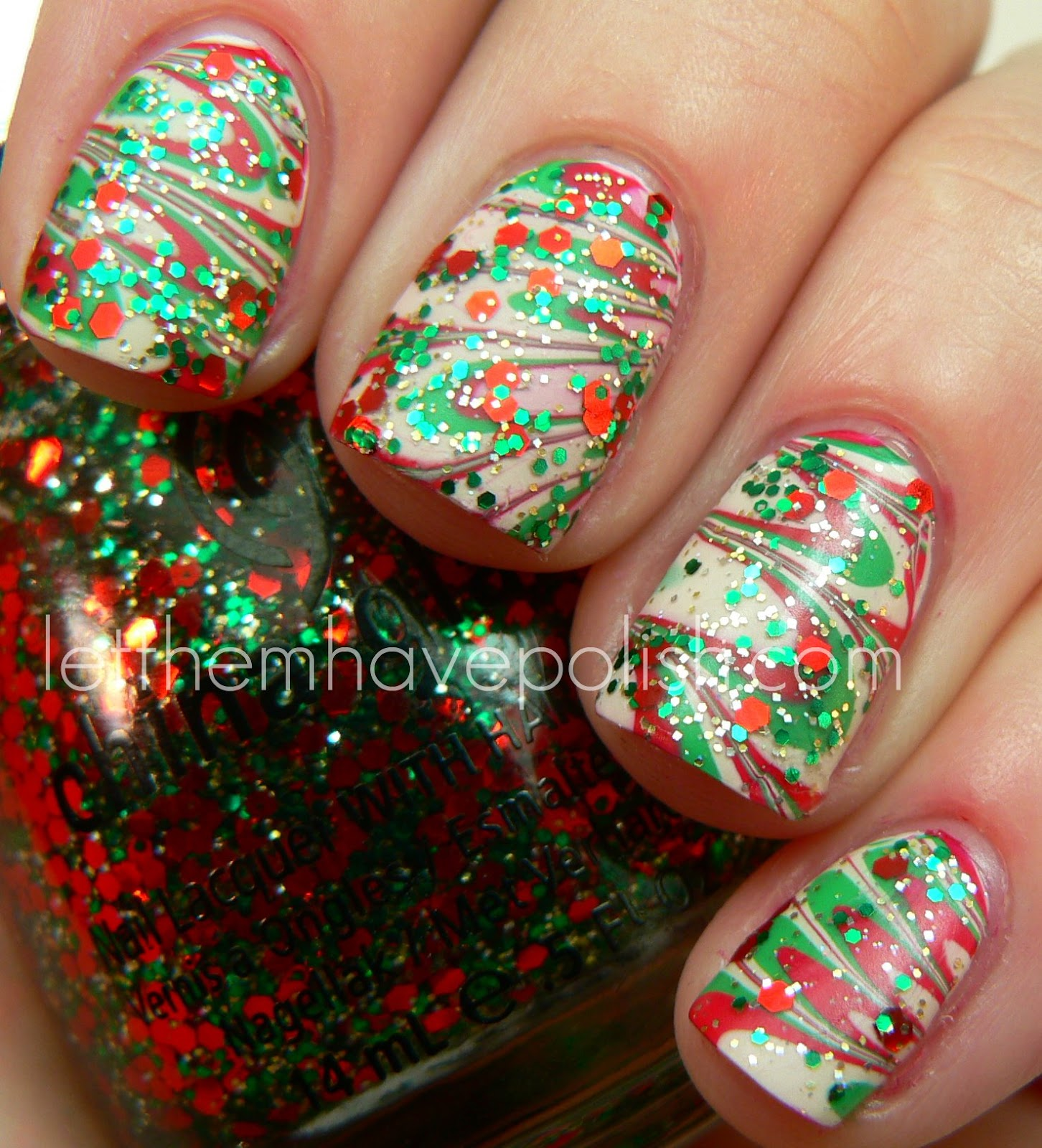 Let Them Have Polish Merry Christmas Holiday Watermarble With Bettina Nail Polish