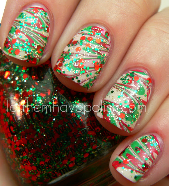 Holiday Watermarble nails from Christina at Let then have Polish.