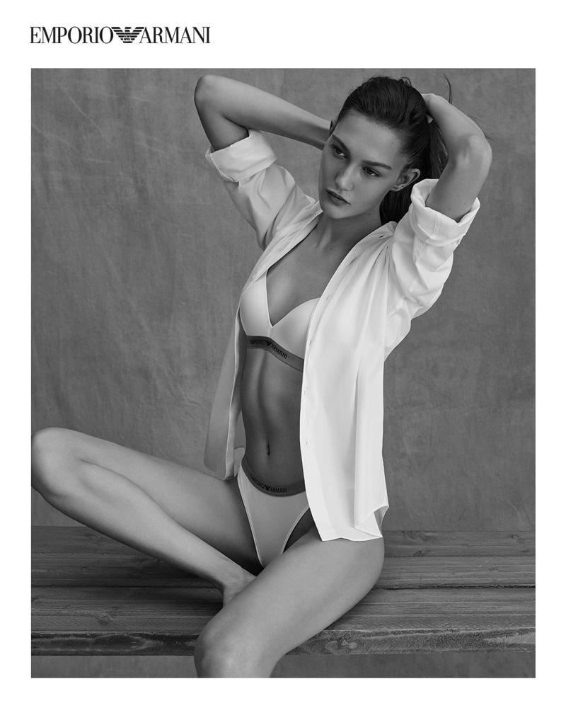 Model Hana Jirickova poses for Emporio Armani Underwear spring-summer 2021 campaign.