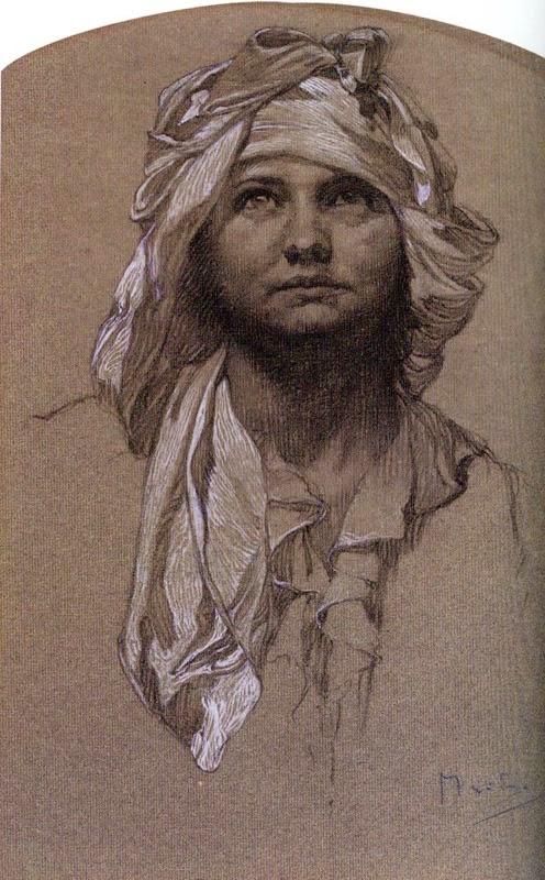Cabeça de uma Menina - Alphonse Mucha e suas principais pinturas ~ (Art Nouveau) Tcheco