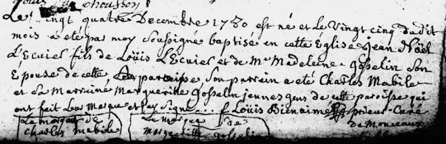 Baptême de Jean Noël Lécuyer