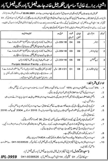 punjab-jail-khana-jat-faisalabad-region-jobs-2021-advertisement