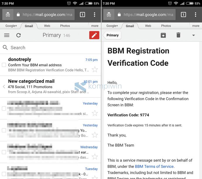 bbm kode verifikasi