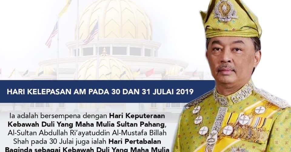 Portal Pahangku Hari Kelepasan Am Pada 30 Dan 31 Julai 2019