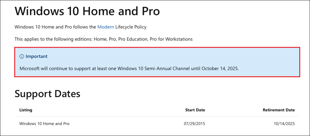 Windows 10 Lifecycle policy - October 14th 2025
