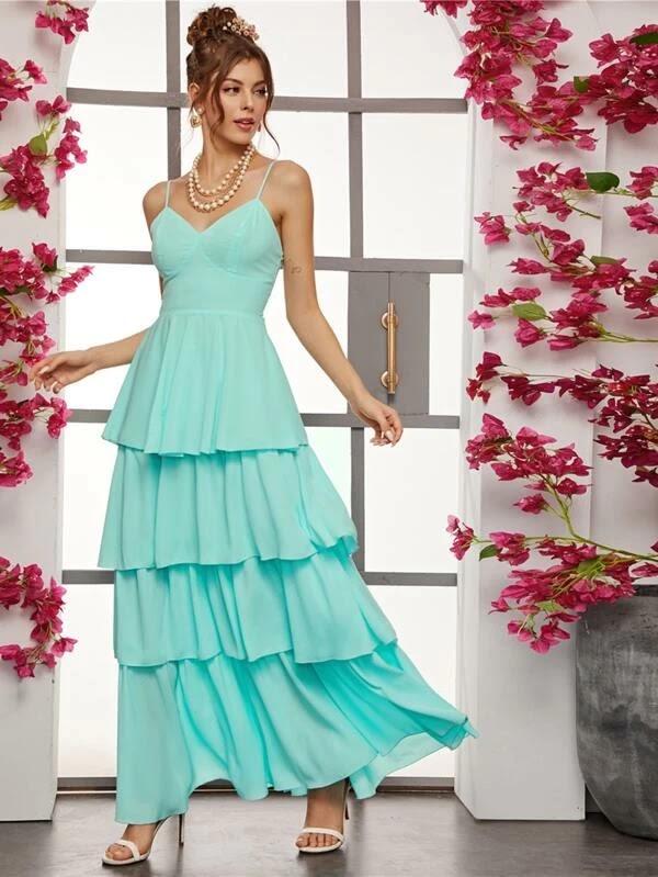 Layered Ruffle Hem Bustier Slip Dress
