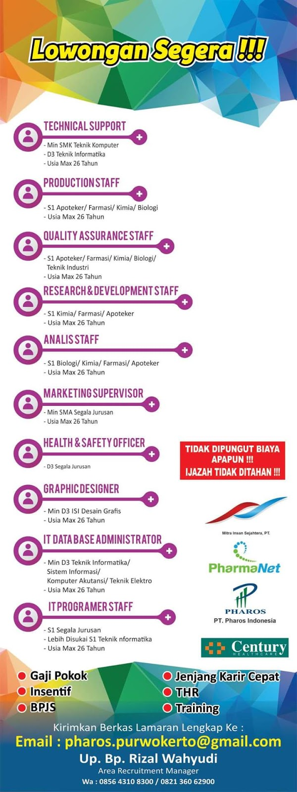 Loker PT Pharos Indonesia Cabang Purwokerto | Loker Satria