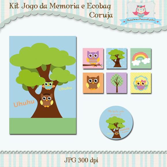 Kit de artes digitais para sublimação de ecobag e jogo da memória Coruja