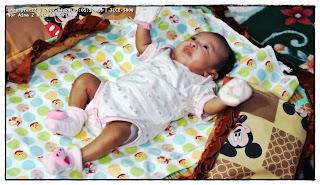 gambar tilam bayi warna coklat corak Mickey Mouse