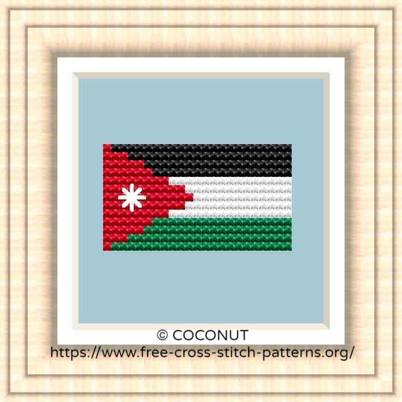 NATIONAL FLAG OF JORDAN CROSS STITCH CHART