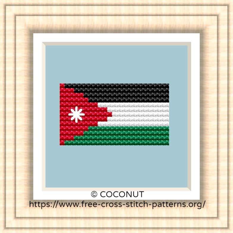 NATIONAL FLAG OF JORDAN CROSS STITCH CHART