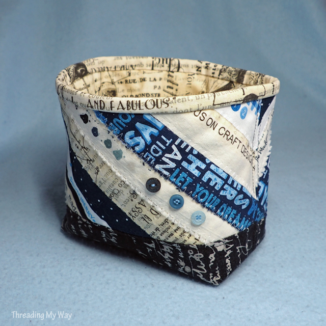 Make a selvedge fabric basket. Pattern review - Patchouli Moon Studio ~ Threading My Way