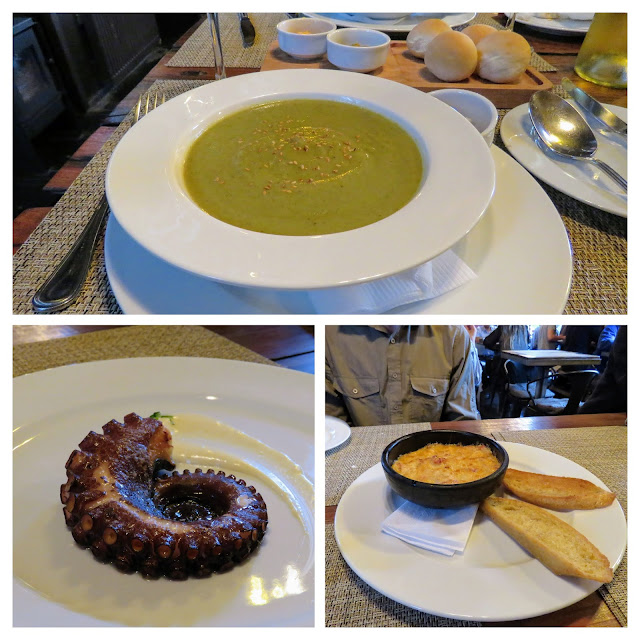 Collage of dish at Santolla restaurant in Puerto Natales Chile
