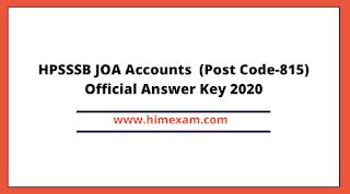 HPSSSB JOA Accounts  (Post Code-815) Official Answer Key 2020