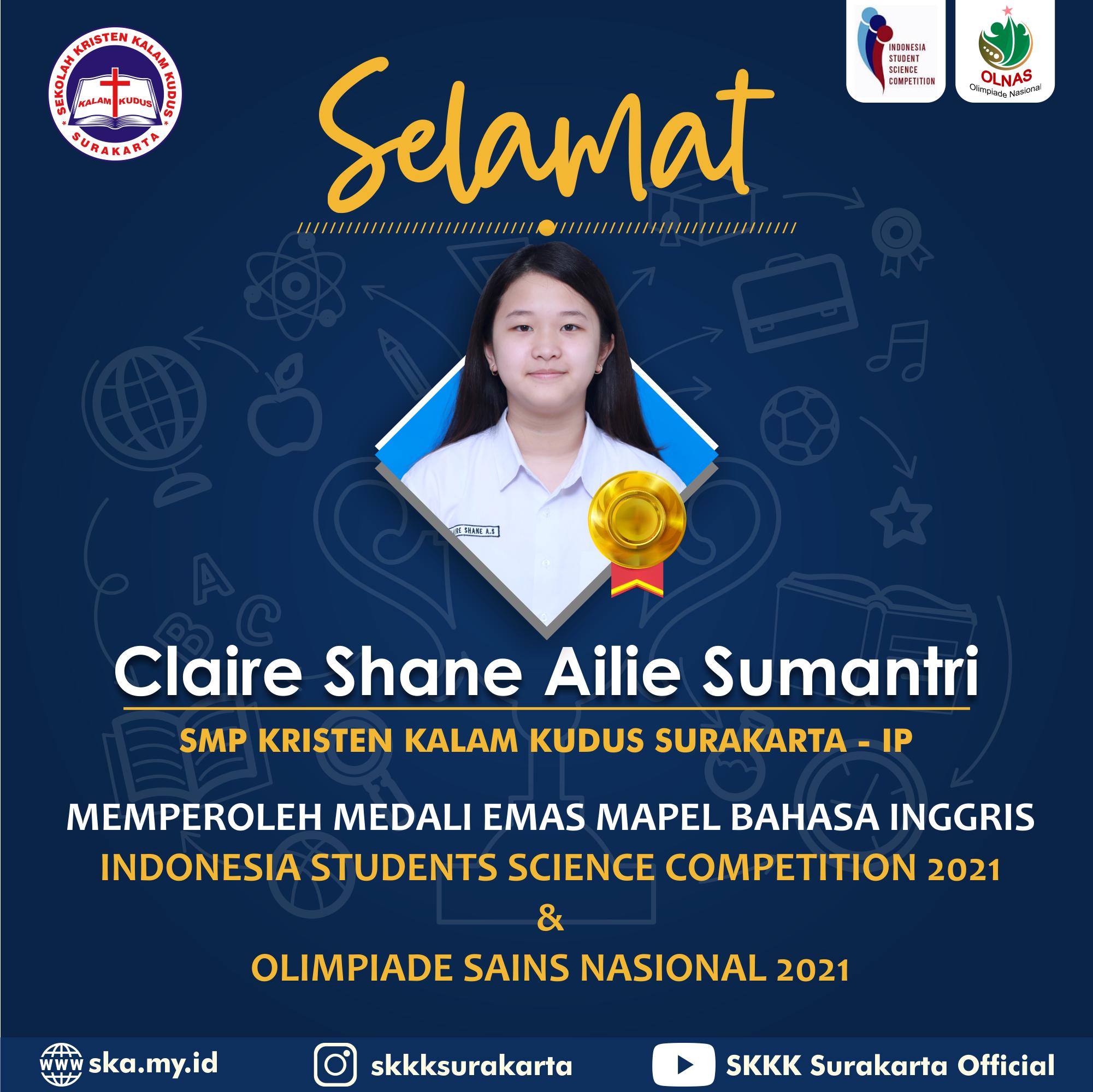 Claire Shane Ailie Sumantri Raih Medali Emas di Dua Ajang Kompetisi Sains Nasional