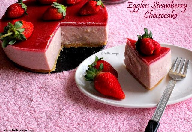 Eggless NoBake Strawberry Cheesecake