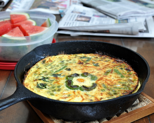 Green Pepper Frittata ♥ AVeggieVenture.com, silky custard + fresh or leftover veggies + pockets of warm cheese. Low Carb. Low Cal. High Protein. Weight Watchers Friendly.