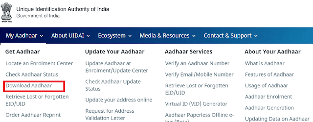 Download Aadhaar Card / E-Aadhaar