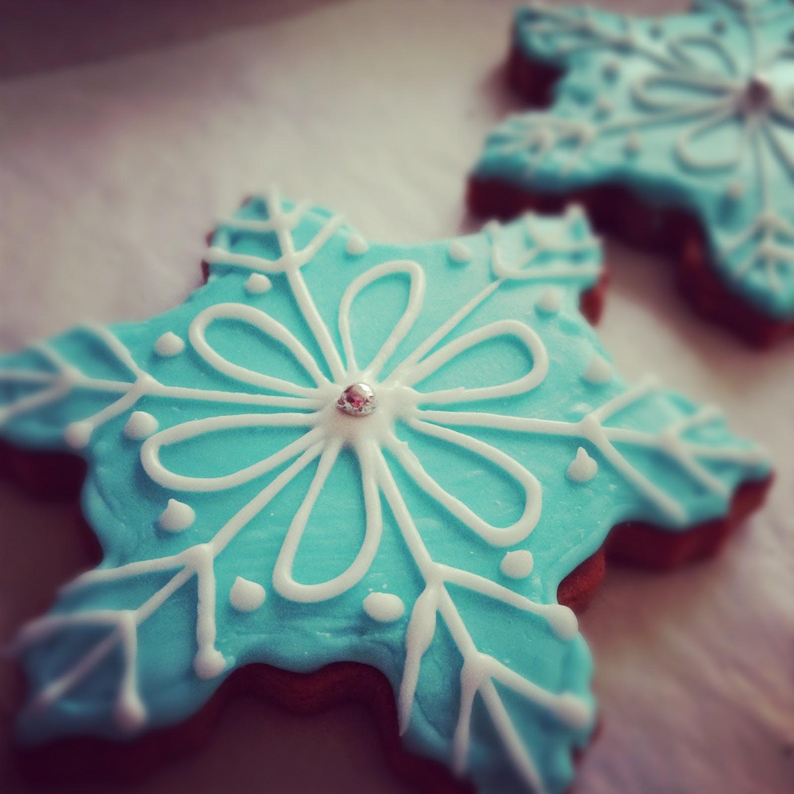Homemade Gingerbread snowflake cookies
