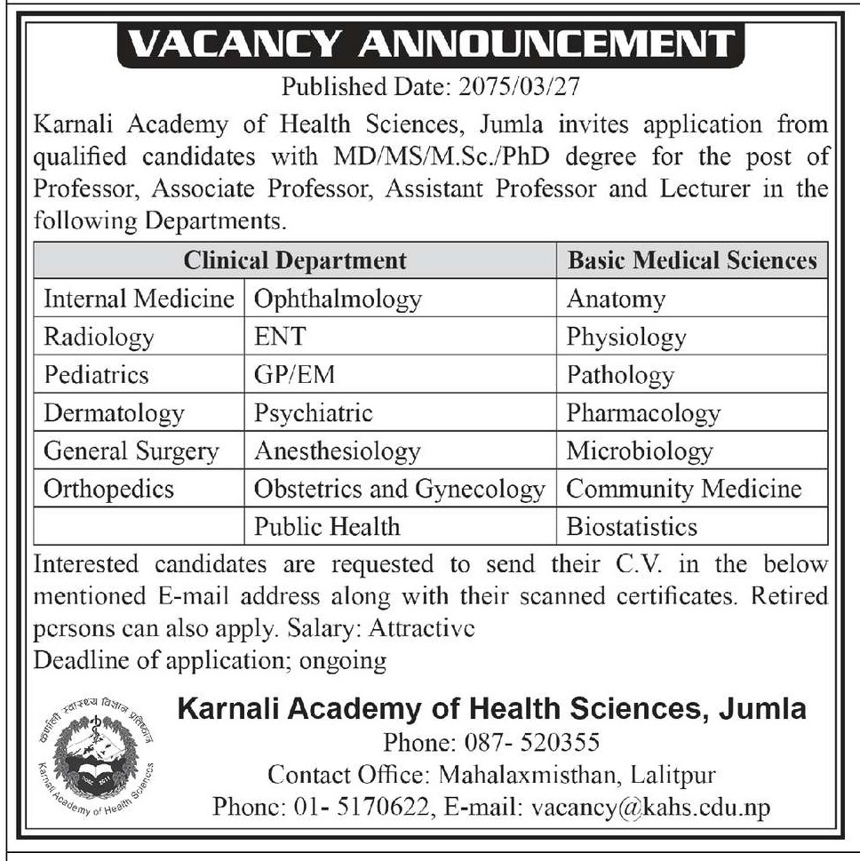 MD Vacancy at  karnali academy of health science