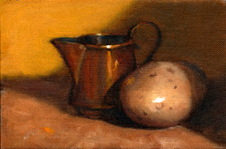 Oil painting of a yellow potato beside a small copper jug.