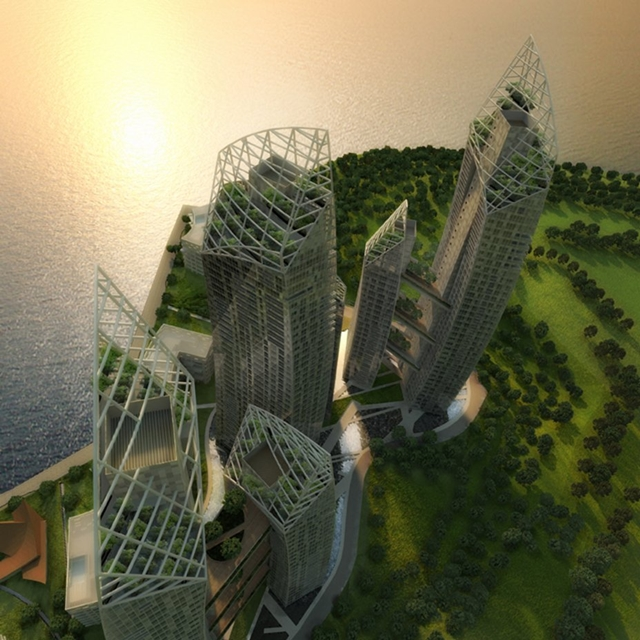Rendering of Reflections at Keppel Bay by Studio Daniel Libeskind