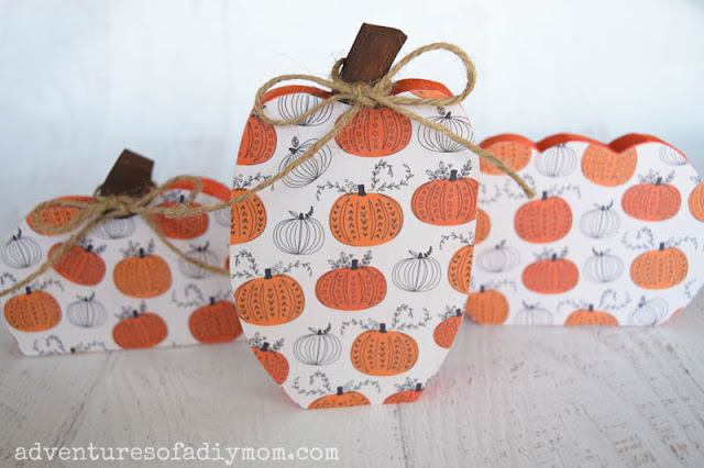 painted wood pumpkins with decoupage