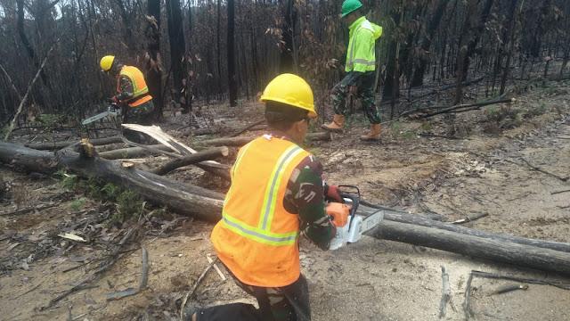 Satgas Garuda Ikut Support Pembersihan Lahan Paska Kebakaran Lahan Australia