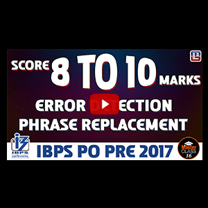 Master Class | Score 8 to 10 Marks | Error Detection | English | Lecture 16 | IBPS PO 2017