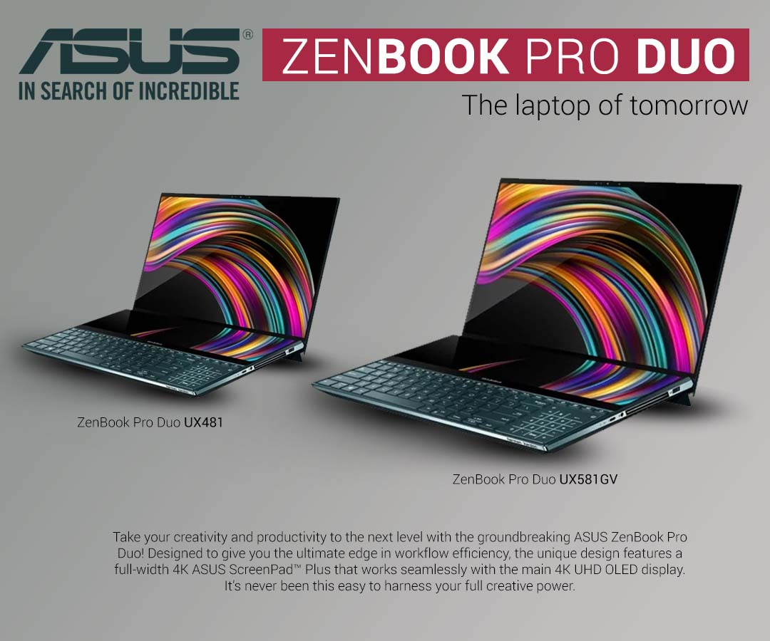 Zenbook Pro Duo Laptop Launches With Two Screens