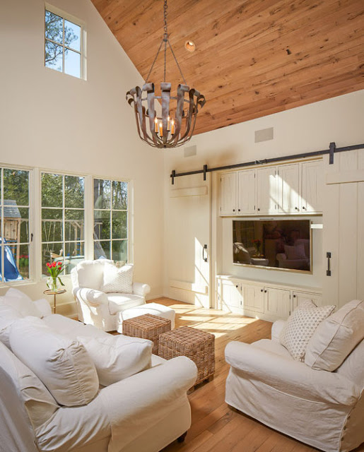 image result for white painted farmhouse plank barn doors to cover TV