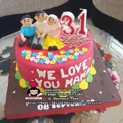 Kue Tart Fondant Ulang Tahun Mama Tema Keluarga