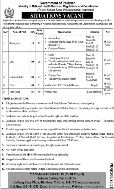 Latest Ministry of National Health Services Jobs 2020