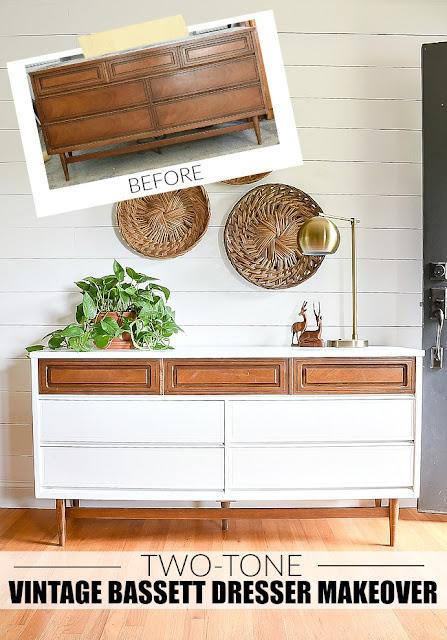 two-tone vintage Bassett dresser
