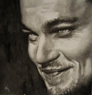 Retrato del Leonardo Di Caprio pintado en acuarela