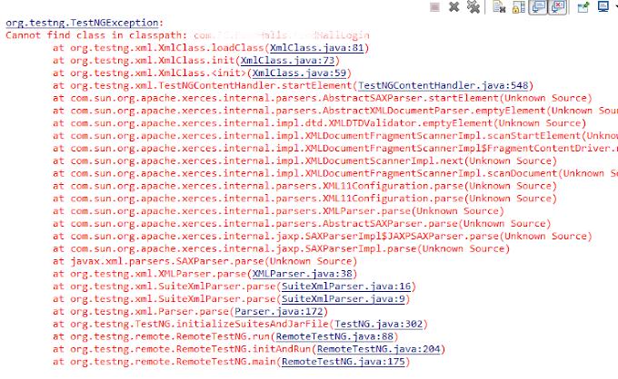 TestNG - Cannot find class in classpath Error