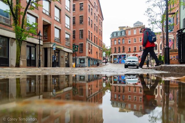 Portland, Maine USA Photo by Corey Templeton Moulton Street Old Port Puddle reflection.