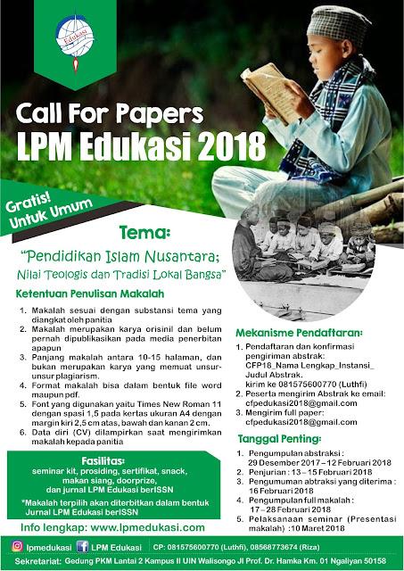Call For Papers LPM Edukasi 2018
