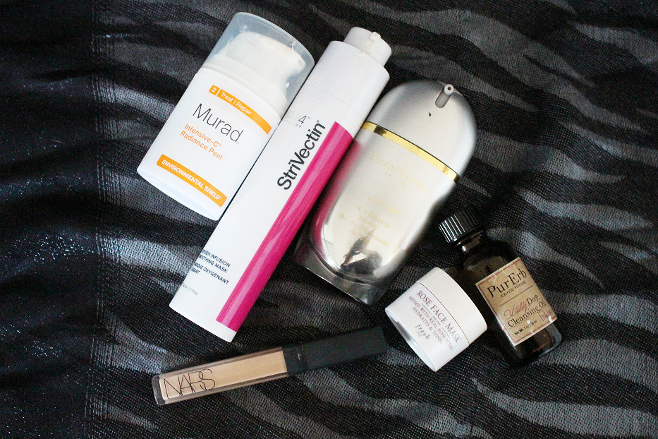 Murad Intensive-C Radiance Peel, Strivectin Oxygen Infusuin Smoothing Mask, Elizather Arden Superstart, PurErb, Fresh Rose Mask, NARS Creamy Concealer