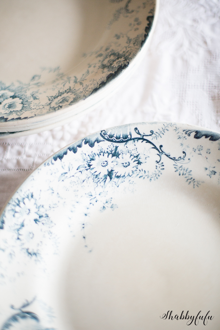 French terre de fer blue and white plates