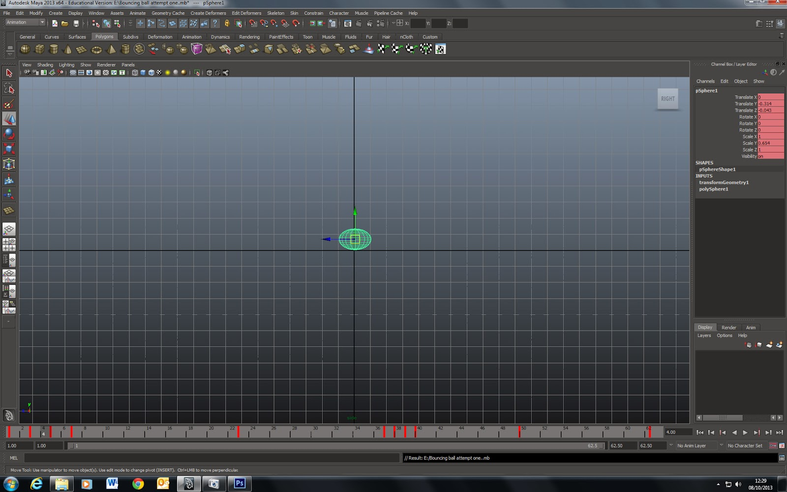 Project 3 : Animating in Maya (The Bouncing Ball)