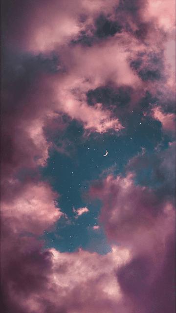 خلفية هاتف سماء وسحب ونجوم وهلال صورة مميزة