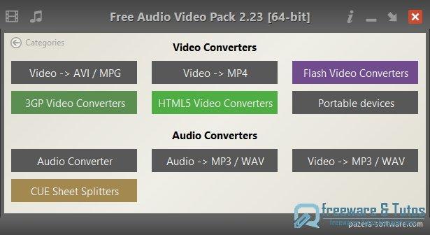 Pazera Free Audio Video Pack : une compilation portable pour la conversion audio et vidéo