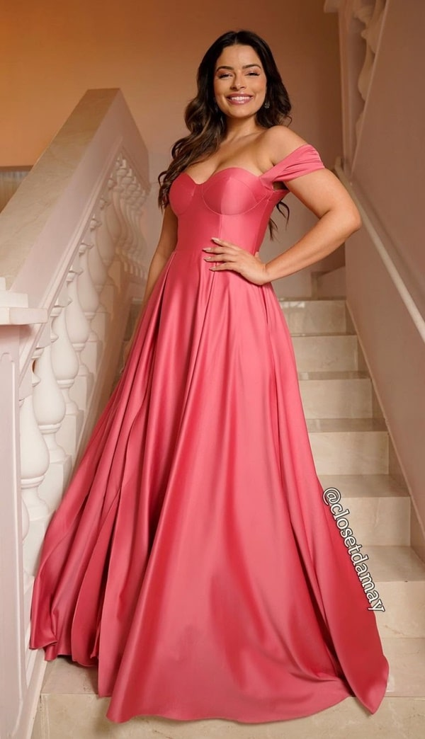 vestido longo rosa goiaba para madrinha de casamento