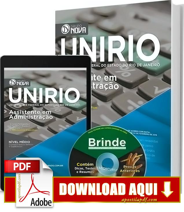 Apostila UNIRIO 2016 PDF Grátis Download Assistente em Administração