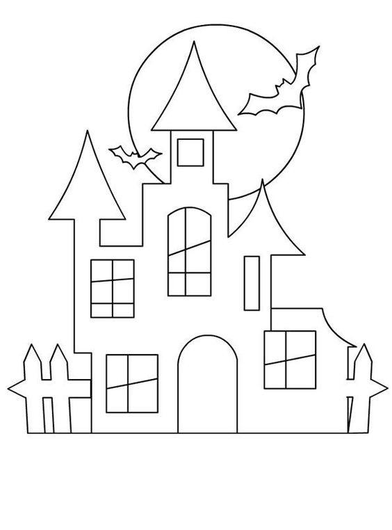 Tranh tô màu ngôi nhà Halloween