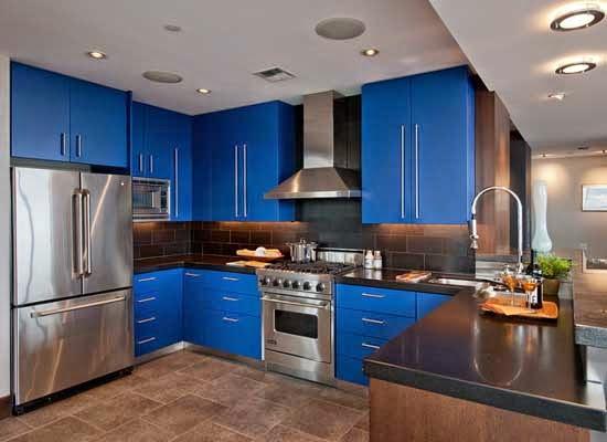 Dapur minimalis warna biru